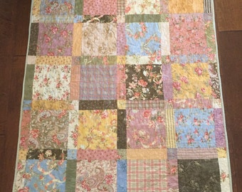 Handmade floral lap cotton quilt 39x49.5 inches