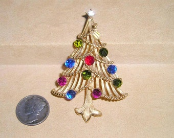 Vintage Trifari Christmas Tree Brooch With Crystal Balls 1960's Signed Jewelry Pin 101