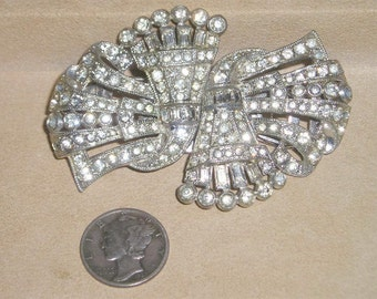 Vintage Coro Duette Dress Clips Brooch With Clear Rhinestone Art Deco 1930's Signed Jewelry 3026