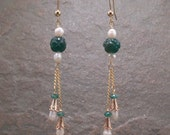 Carved Green Aventurine & White Freshwater Pearl Chain Dangle Earrings