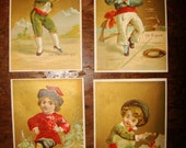 4 Victorian Gilded Ethnic Dancing Children Trade Cards- late 1800s