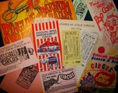 Vintage 15 piece Set of Circus Ephemera- Souvenir Program, Peanut and Popcorn bags, Tickets, Ad, Pay Roll Sheet