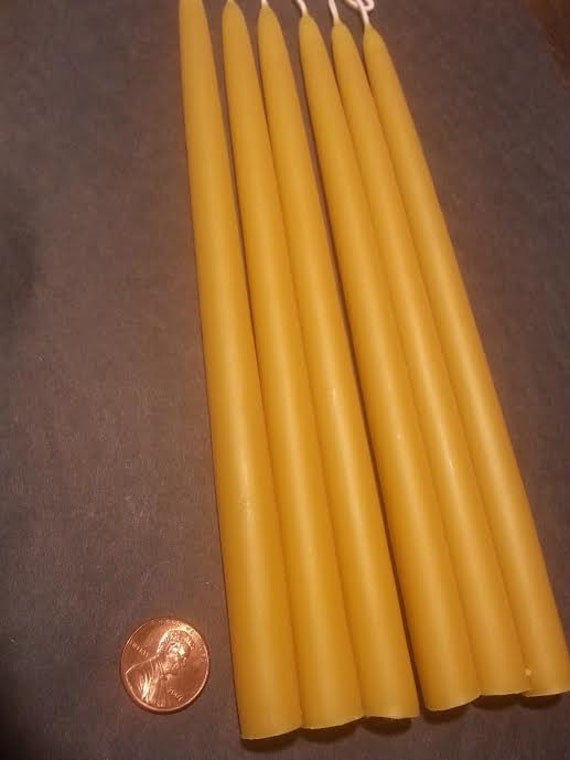 """6 candles (3 pairs)  1/2"""" x 8""""  Organic Beeswax Candle. Free Shipping"""