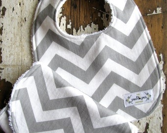 SALE Grey Chevron Bib & Burp Cloth Set - Baby Boy or Girl - Gender Neutral - Baby Gift Set - Gray