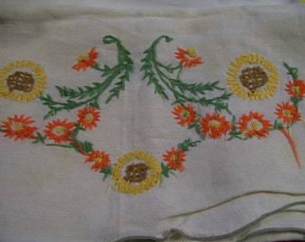 Embroidery Table Runner Vintage Orange Gold Flowers