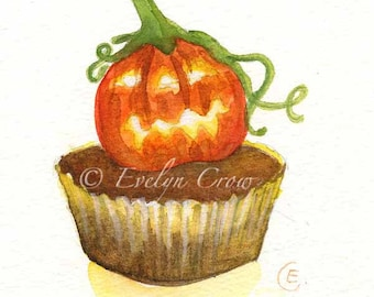 Halloween Cupcake 37 - Original Watercolor Painting 8x6 inches