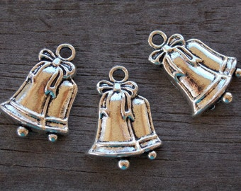 10 Silver Bell Charms 23mm Antiqued Silver Christmas Charms