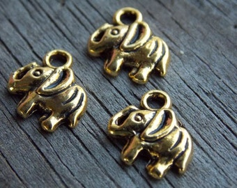 20 Gold Elephant Charms 11mm
