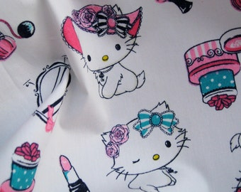 C063 - 1 meter  Cotton Fabric - Lovely Kitty and Mirror (145cm ,180g)