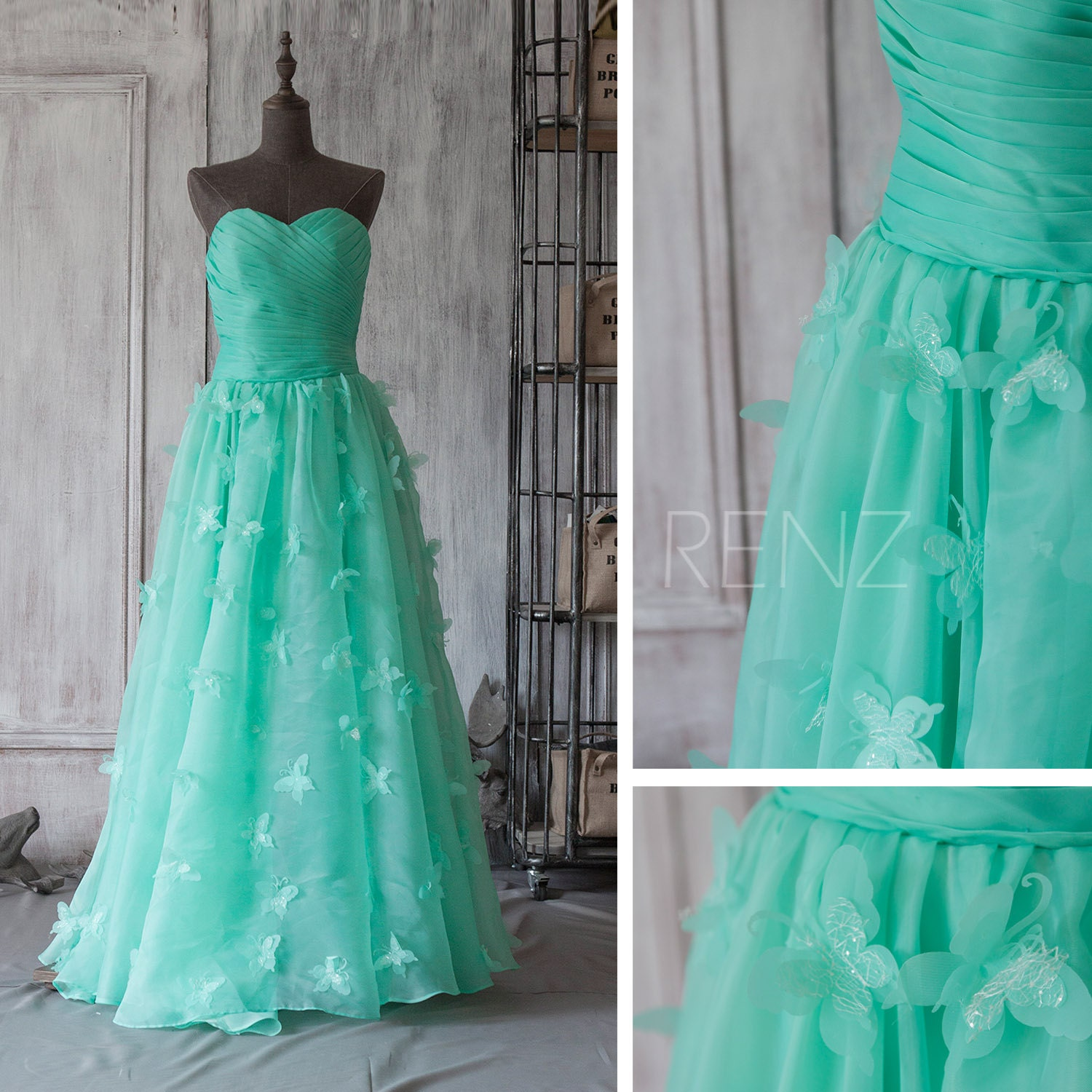 2016 sea green bridesmaid dress butterfly wedding by renzrags for Can i make my own wedding dress