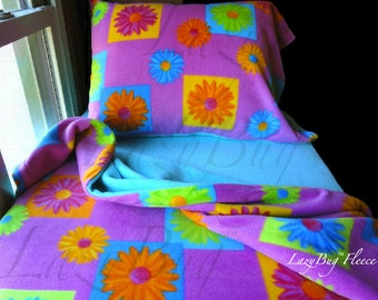 Flower Bedding Fleece Bed Set 'Flower Block with Blue' Handmade Fits Crib and Toddler Beds