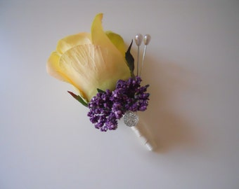 Yellow Rose Pin Boutonniere / Corsage with rhinestone accent