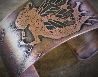 Fairy Cuff, Etched Copper Wide Bracelet,