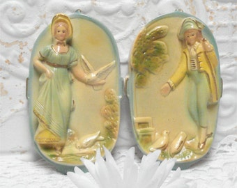 Chalkware Couple Wall Plaques Man Woman Doves