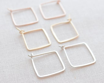 Small Square Hoop Earrings, Handmade Hammered Hoop Earrings, Gold Square Hoops, Rose Gold Square Hoops, Silver Square Hoops, Olive Yew -3156