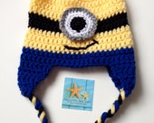 Minion Inspired Hat, Girl or Boy, With or Without Tails. Dave or Larry Style (One or Two Eyes)