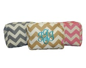 Personalized Jute Chevron Cosmetic Bag-available in Hot pink, Khaki, or Gray Monogrammed FREE great for Bridesmaids or Graduation