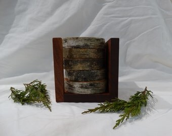 Birch wood coasters - set of 5 coasters and holder