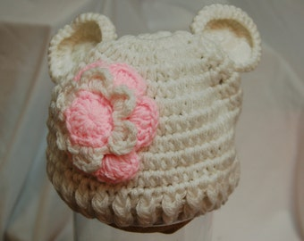 White Crochet Hat With Bear Ears, Baby Girl, Photo Prop, 6-12 months