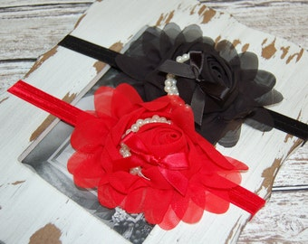 Newborn Headband, Baby Girl Headband, Red, Black, Chiffon Rosette, Pearls, Photo Prop, Hair Accessory, Perfect for Valentine's Day!