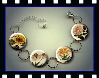 Botanical Floral Vintage Roses Tiger Lily Sunflower Charm Bracelet with Rhinestones Altered Art Jewelry