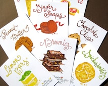 Classic Cookies Boxed Set of Cards - Baking Gift - Hand Lettered Note Cards - Set of 8
