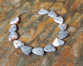 Gray Necklace  Slate Gray Feldspar Necklace - Geometric  Marble - Gray Statement Necklace -