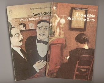 2 Novels by Andre Gide in English Translation, Strait is the Gate & The Vatican Cellars Vintage Penguin Paperbacks from the 1960s