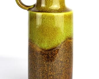 Vintage Retro West German Handled Vase by Scheurich with a Brown & Green Glaze