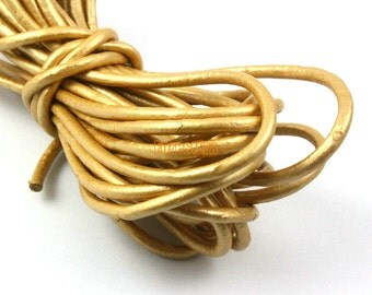 5 Yards 3mm Leather Cord Gold Leather Belt Round Leather Cord Genuine Leather Cord (YPS14)