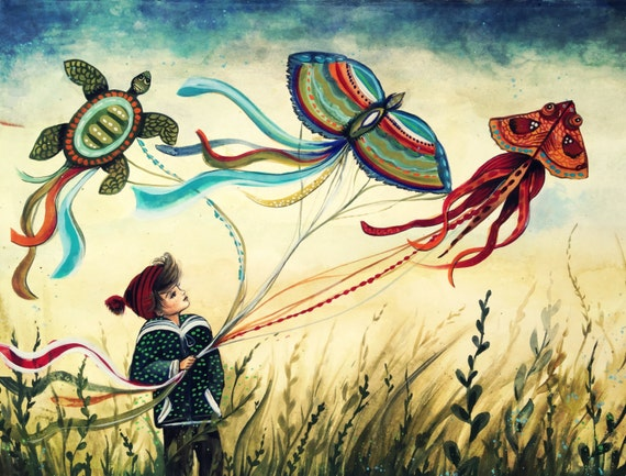 boy with animal kite art print