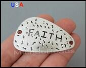 5 Silver FAITH Charm Connectors - 45x26mm Triangle Curved Faith Message word Charm Link Connector - Instant Ship - USA Discount Charm - 5997