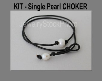 DIY KIT - Single Pearl Choker - Freshwater Pearl on Leather Cord - Pick COLOR / Closure - Jewelry Design Kit w/ Tutorial Video - 998 -  Usa