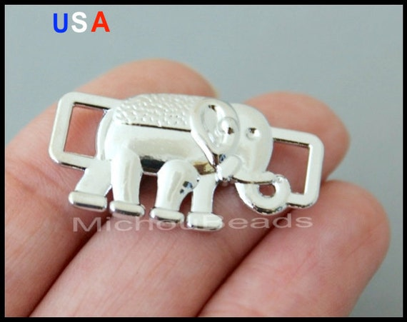BULK 25 ELEPHANT Connector Charms - Silver Elephant Animal Charm Link for Charm Bracelets - Instant shipping - USA Wholesale Charms - 6003