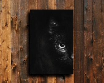 Black Cat - Black Cat photography - Black Cat art - Black Cat decor - Black Cat canvas art - Black Cat Halloween