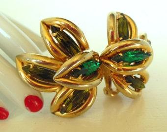 Vintage Rhinestone Avocado Emerald Marquise Gold Clip Earrings 60's (item 201)