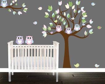 Pastel Owl Wall decal, nursery decals, owl tree wall stickers, tree Decal