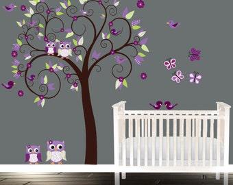 Girls Nursery Owl Wall Decal, Purples Nursery Tree, Birds Owls patterns swirls