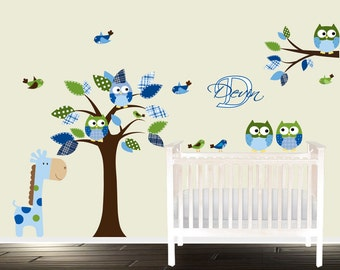 boys nursery wall decals, owl decal tree, nursery tree, giraffe and owls, tree decals