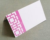 Chinoiserie Fretwork Trellis Pattern Place cards  Pink, Asian Motif Set of 12