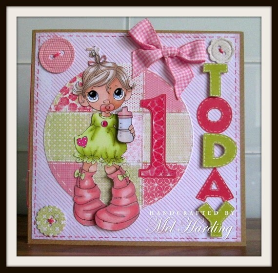Items similar to Handmade Greeting Card 1 year old babytoddler – Birthday Greetings for 1 Year Old