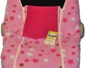 Pink Stars/Raspberry NUZZLER - Infant Car Seat Cover, Warm Polartec 200 - REVERSIBLE