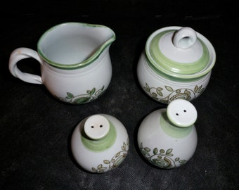 Metlox Mission Verde Cream Pitcher Sugar Bowl and Salt and Pepper Shakers