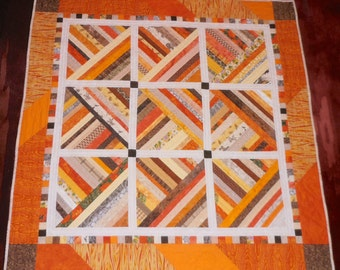 Quilt Lap or Throw Sunlight Bright Strips Hand Quilted