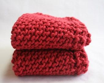Handknit Cotton Dish Cloths - Wash Cloths - Set of Two