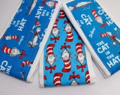 Burp Cloths set of 3 Cat in the Hat prints/Free Shipping/ Ready to ship!