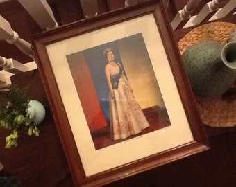 Vintage Queen Elizabeth II Portrait by Donald McKague Toronto 1958 original Frame