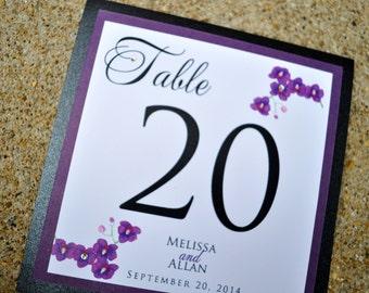 Wedding Table Numbers - Purple Wedding Table Numbers - Personalized Table Numbers for Weddings