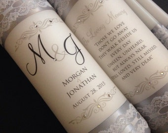 Monogram unity candle and memorial candle - Lace Wedding Candle - Elegant Lace Wedding