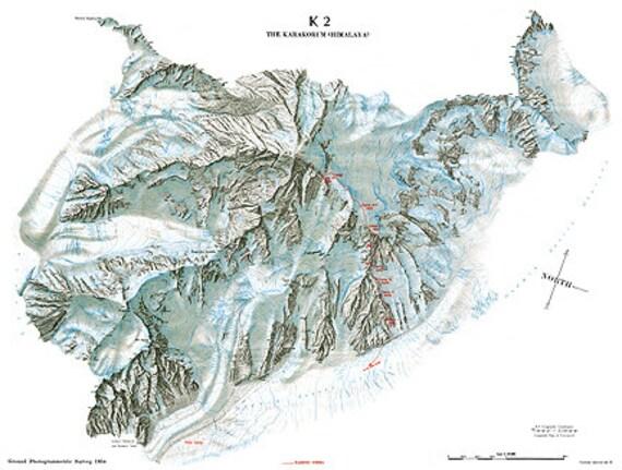 K2 Mountain Map Vintage Himalayas Mountains K2 KaraKorum Summit Topographical Map ...